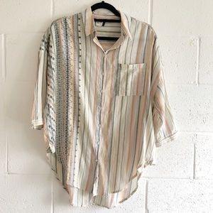 Akemi+Kin Anthro Yarn Dyed Button Down Shirt